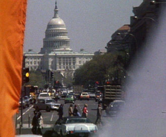 The Capitol framed by flags