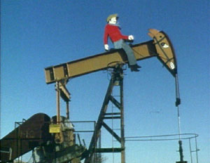 Oil derrick cowboy