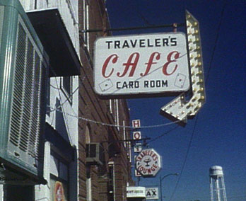 Travellers Cafe sign