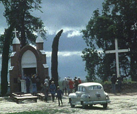 chapel and old car